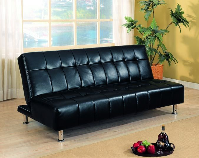 Contemporary Futons Faux Leather Armless Convertible Sofa Bed