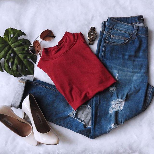Um look mocinha #girl #saltoalto #jeans #relogio #vermelho #look #lookdodia…