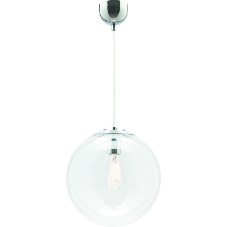 The 40cm Toledo ball shaped pendant is a one light chrome pendant with a clear glass shade. E27 Max 60W (not included)