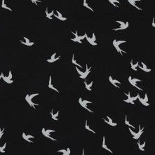 Black and White Birds Printed on a Polyester Chiffon