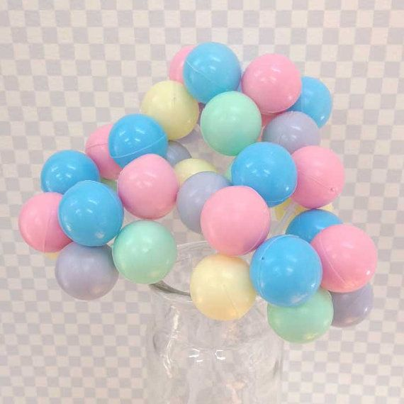 3 Pastel Party Balloon Cupcake / Cake Toppers - Plastic Balloon Clusters