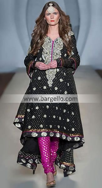 Bargello.com has some gorgeous pieces, but I am loving the black and pink on this pakistani style anarkali.