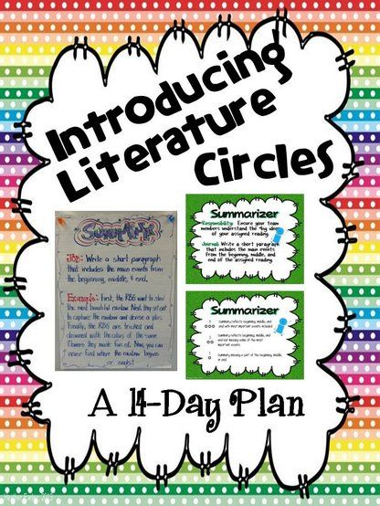 14 Individual lesson plans with cooperative learning activities, anchor charts, rubric, 16-slide PP, blackline masters, and suggested text examples, all scaffolded to introduce literature circles through modeling, paired practice, and small group practice.  $