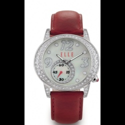 """This is the same """"Happy Hour"""" watch that is presented in black, except this one has a round, white, mother of pearl dial with silver bezel embellished with sparkling Swarovski Crystals and a dark red strap. This is one of our top sellers."""