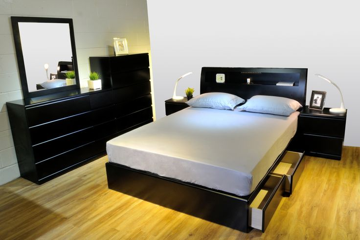 and bookcase headboard with lights and plug black storage beds. Black Bedroom Furniture Sets. Home Design Ideas