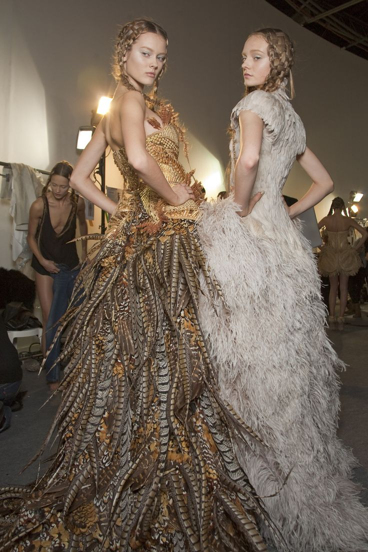 Alexander McQueen repeatedly used the theme of birds within his work. He was inspired by Alfred Hitchcock's classic film The Birds and based his 1995 spring/summer collection the film.  More recently his autumn/winter 2009 collection also showed his obsession with Hitchcock.