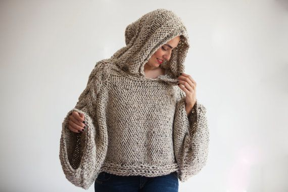 Tweed Beige suéter de Angel Capalet con capucha sobre tamaño