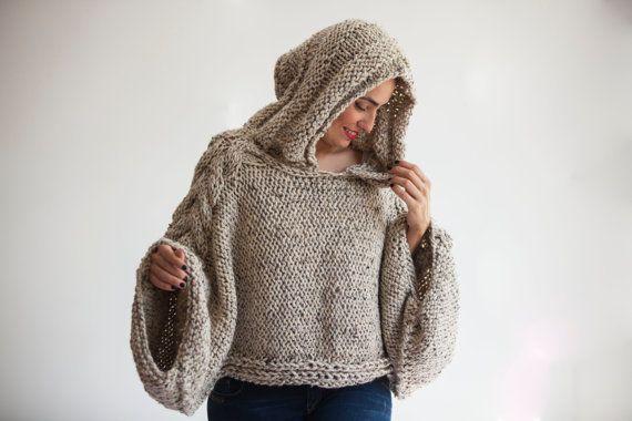 WINTER SALE Tweed Beige Angel Sweater Capalet with Hoodie