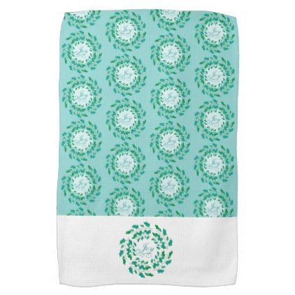 Holly Wreath Joy in Green and Blue Holiday Hand Towel - kitchen gifts diy ideas decor special unique individual customized