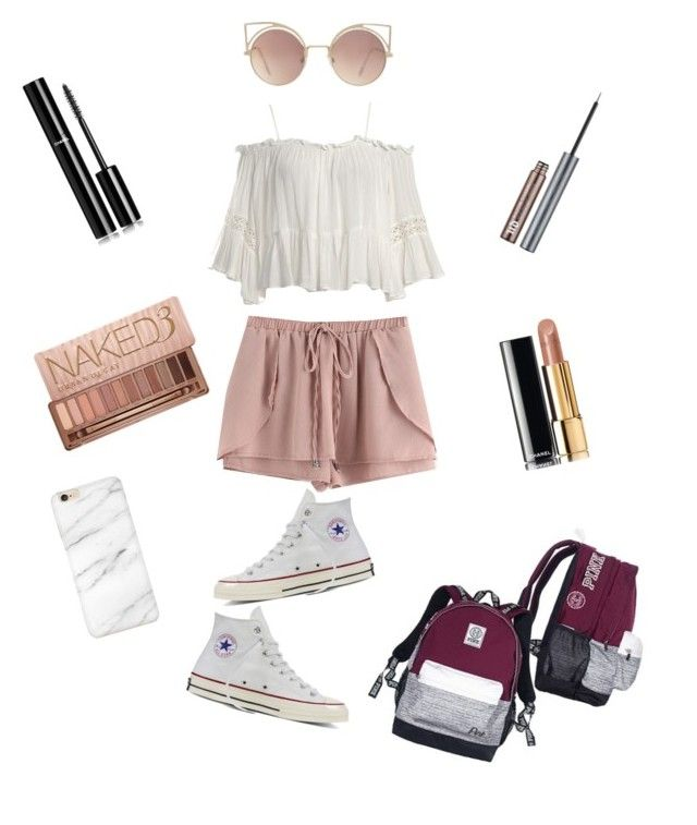 """First day of school outfit"" by idyll10 on Polyvore featuring WithChic, Sans Souci, Converse, MANGO, Chanel and Urban Decay"