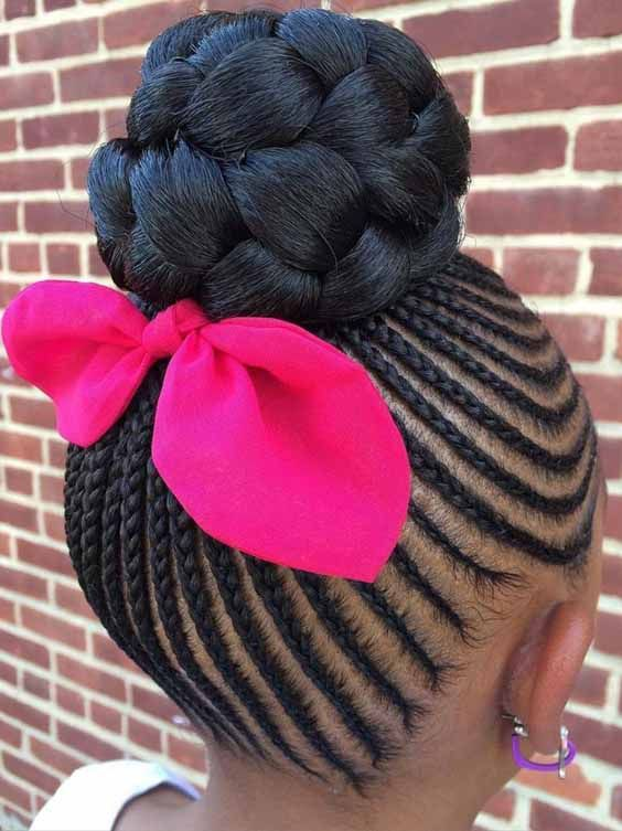 These cute spunky pigtails are awesome. Here pigtails are not tied off but flowing outwards. These Senegalese twists are full in volume. Ghana cornrows are splendid options to wear. While cornrows typically feature straight parts, This do has curves and small braids inbetween. #Allhairstylesblog #BraidsHairstyles #BraidsHairstylesblackhair #BraidsHairstylestutorials #BraidsHairstylesafricanamerican #BraidsHairstylesforlonghair #BraidsHairstyleseasy