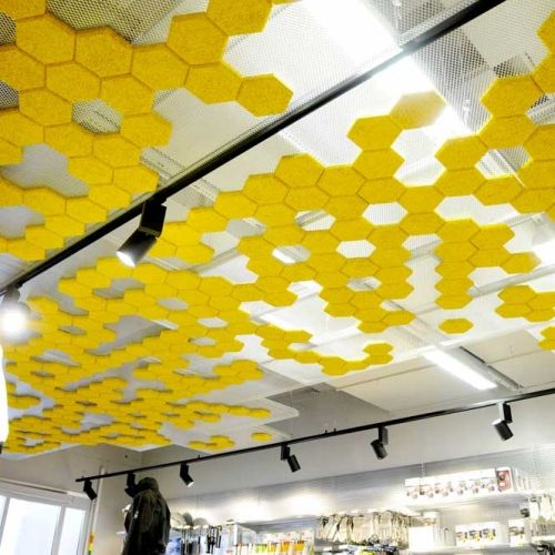 Baux Sweden fiber acoustic panels come in different shapes & colors to make wonderful patterns with noise control qualities