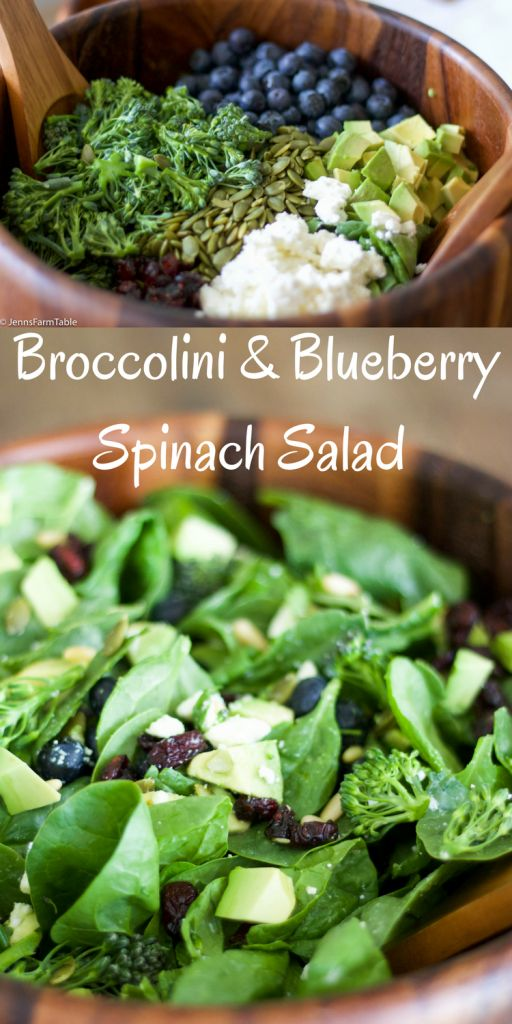 Broccolini & Blueberry Spinach Salad with cranberries, avocado, feta cheese and pumpkin seeds. Topped with a raw honey & mustard dressing.
