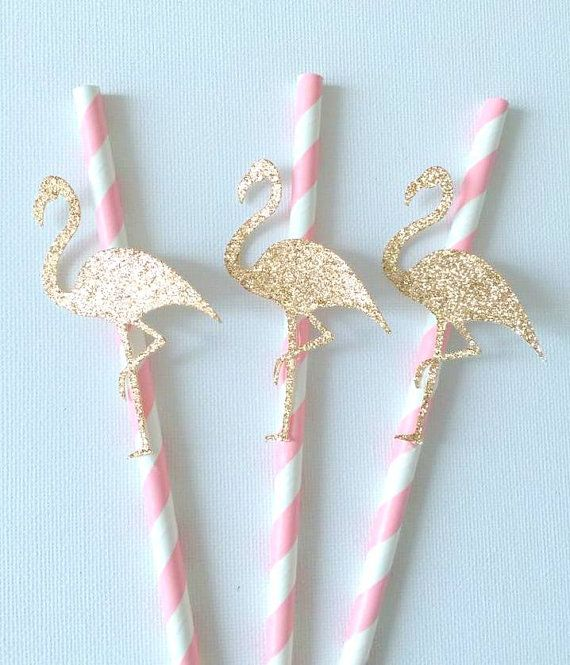12 Pink and bronze gold Flamingo paper straws - baby shower / birthday