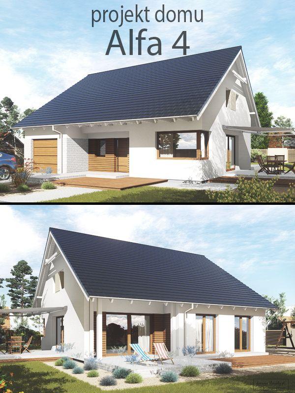 """Projekt małego parterowego domu do 90 m2, z jednostanowiskowym garażem oraz możliwością adaptacji poddasza. """"Alfa 4"""", dzięki nowoczesnej, prostej bryle budynku zapewnia ponadczasowy wygląd oraz optymalizację kosztów budowy. Parter jest idealny do komfortowego użytkowania przez 2-3 osobową rodzinę, a pełnowymiarowa klatka schodowa zapewnia dostęp do ponad 70m2 dodatkowej powierzchni."""