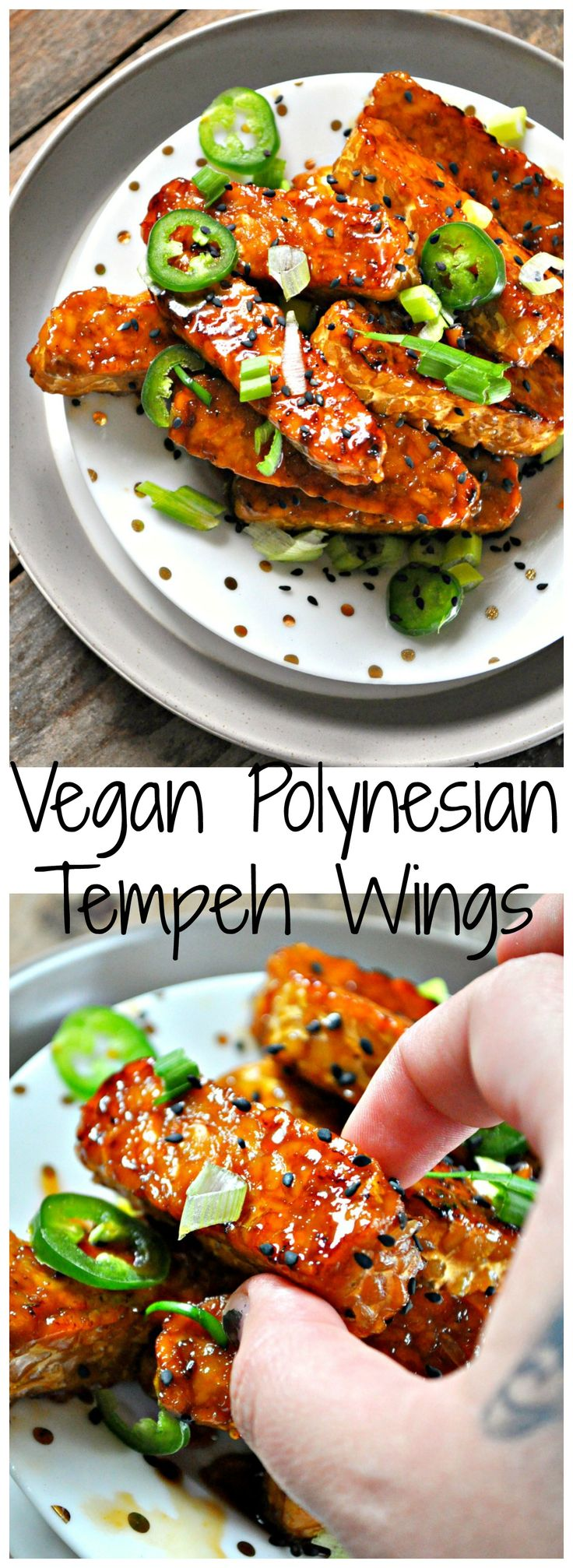 Healthy(ish) baked tempeh wings, tossed in a insanely delicious Polynesian sauce made with pineapple juice and soy sauce!