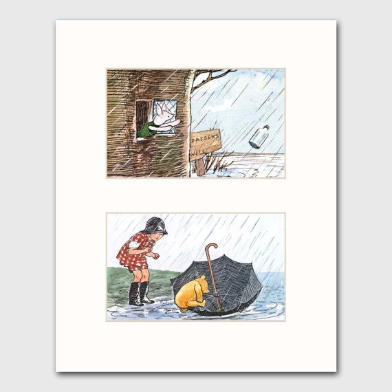 Pooh and Piglet Print w/Mat Wall Art Nursery by CloudNinePrints