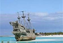 Castaway Cay - Private Disney island where the Pirates of the Carribean ghost ship lives.