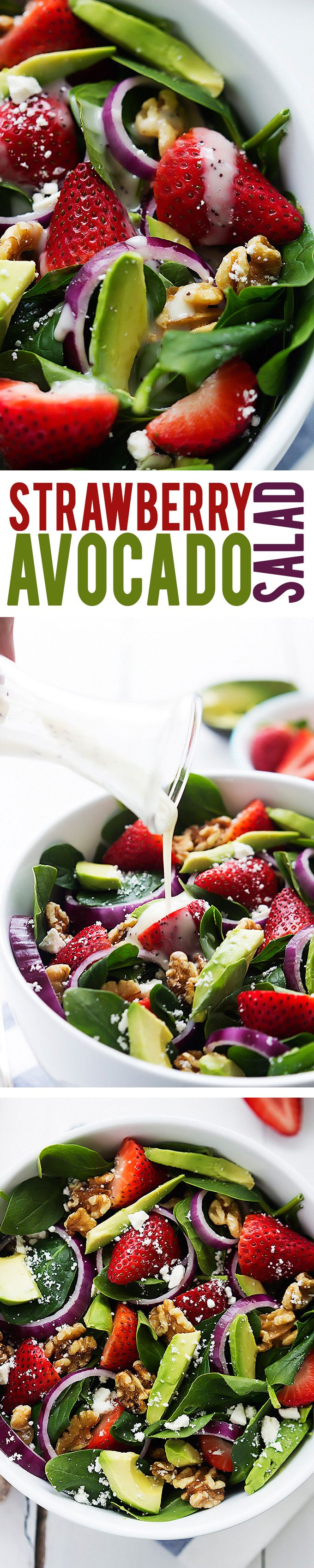 Healthy strawberry avocado spinach salad. Strawberries, avocados, walnuts, and feta cheese all tossed with fresh baby spinach and creamy poppyseed dressing!