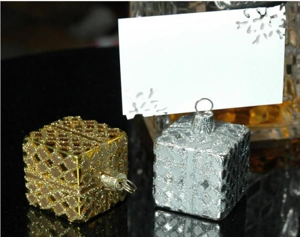 elegant christmas place card holders silver and gold card holders