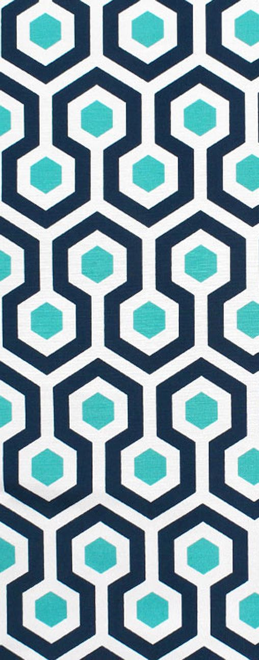Pretty for patio! Navy and Turquoise / aqua blue Premier Prints Outdoor Magna Oxford Fabric.