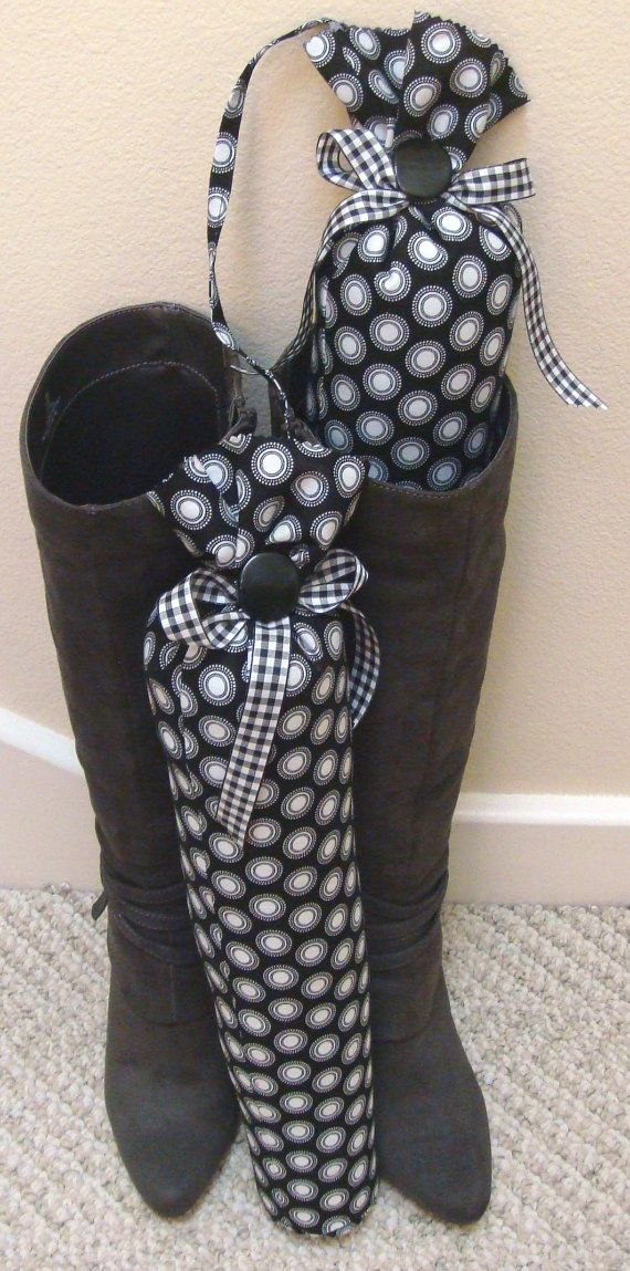 Use water bottles/pool noodles and batting with beans...Black and White Circles Boot Trees by shoesies4u on Etsy, $26.00 POSSIBLE DIY CHRISTMAS GIFT!