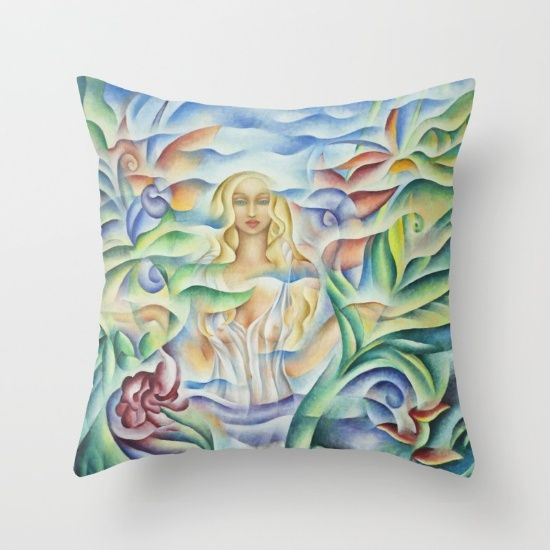 "Flower Goddess  Pillow. Design based on oil painting by Monique Rebelle. Throw Pillow Cover made from 100% spun polyester poplin fabric, a stylish statement that will liven up any room. Individually cut and sewn by hand, the pillow cover measures 16"" x 16"", features a double-sided print and is finished with a concealed zipper for ease of care. Does not include pillow insert.  #throwpillow #pillowlivingroom #bedroom #pillowcase #flowerbed #flowerdesign"