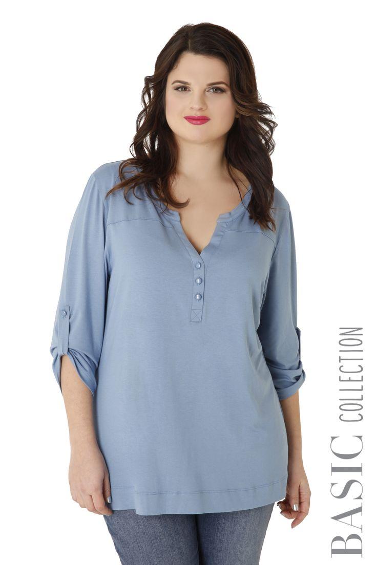 Βισκόζ μακρυμάνικη μπλούζα με κουμπιά - Pastel Collection - Συλλογές | Parabita