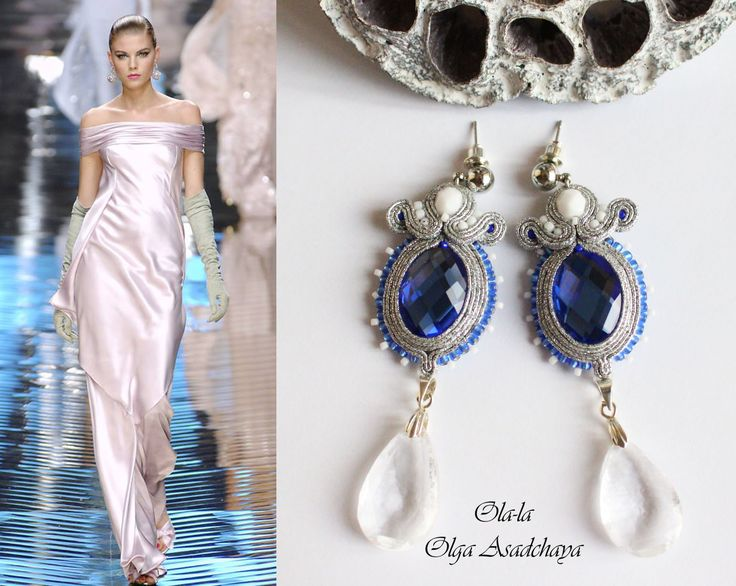 "Collection ""The Breath of Winter"" Earrings ""Tears of ice"" Sutured metallized, crystal rhinestones, glass beads, crystal pendants, Japanese"