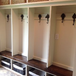Diy Mudroom Lockers With Black Walnut Bench And Pottery