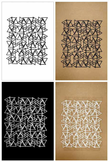 TEPEU CHOC / Guatemala / W wingdings, 2008-2010 /  Pintura serigráfica/papel kraft y papel blanco y negro con textura de cuero
