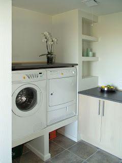 Upphöjd tvättmaskin Hus Inspiration Inredning: Tvättstuga