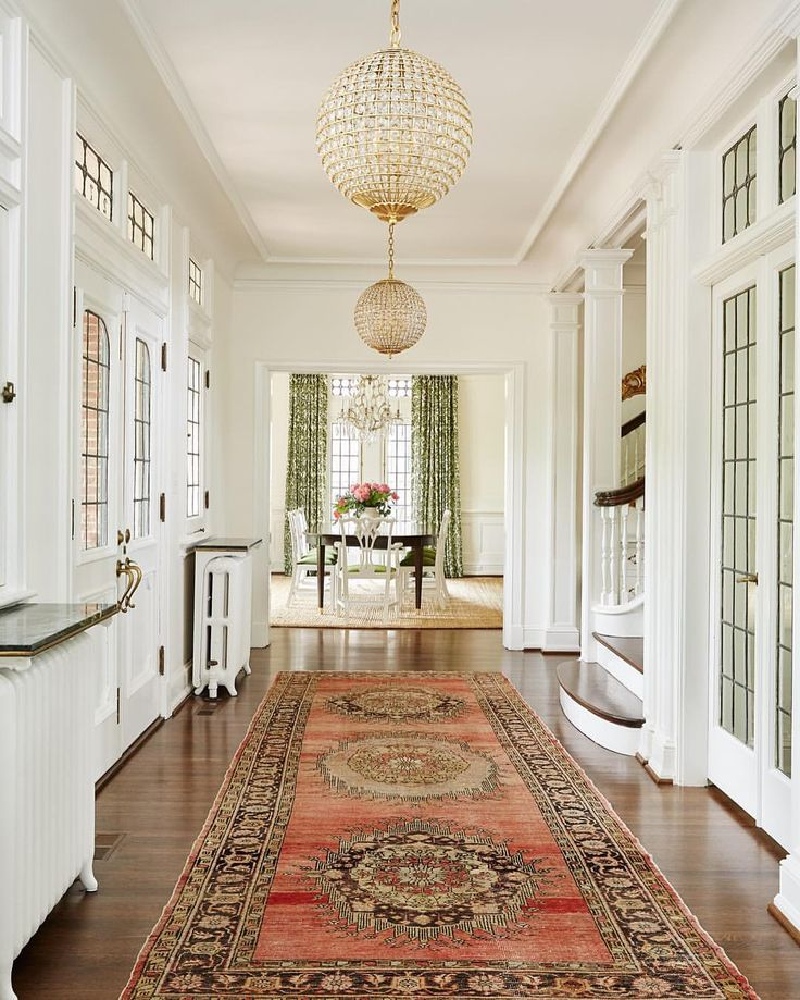 Foyer with Persian oriental rug runner