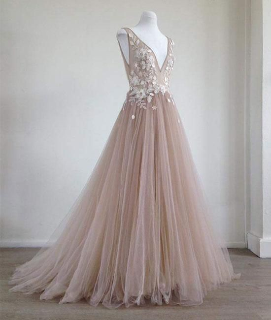 4ed4d1206 Champagne v neck tulle lace applique long prom dress, champagne, Customized  service and Rush order are available