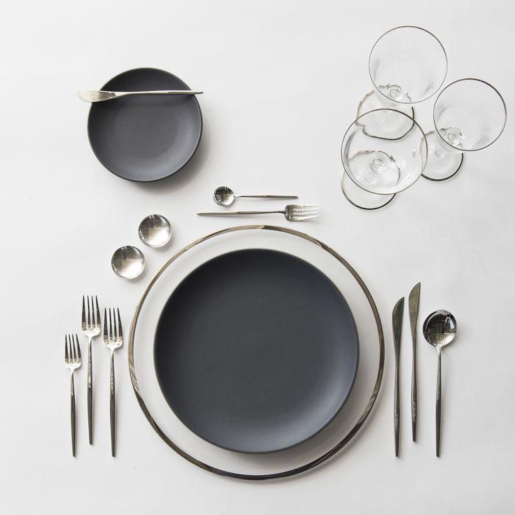 Platinum Halo Glass Charger + Heath Ceramics in Slate/Indigo + Moon Flatware in Polished Steel + Silver Salt Cellars + Chloe Platinum Rimmed Stemware   Casa de Perrin Design Presentation