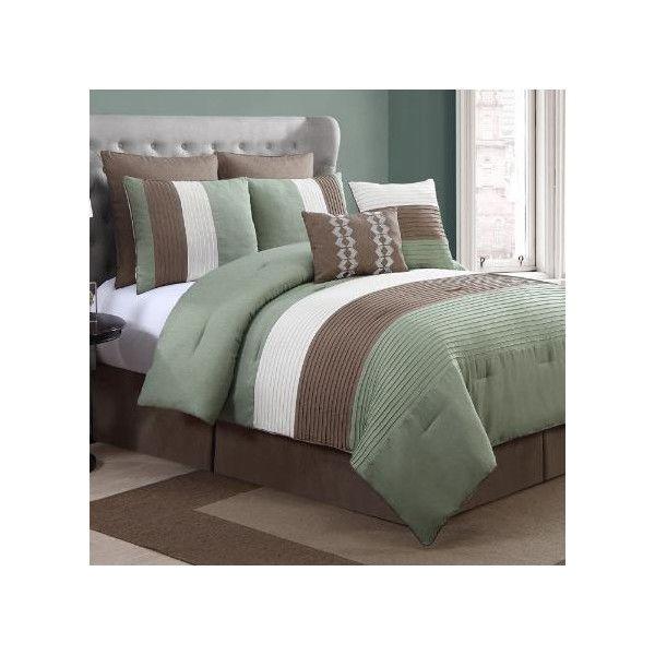 Luxury Home Reggata Comforter Setu0026 Queen   Lite Green   8 Piece Set