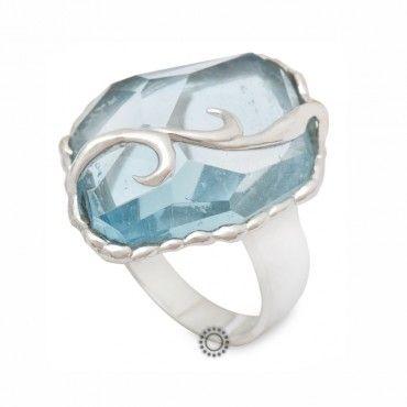 Δαχτυλίδι Κ18 λευκόχρυσο με ακουαμαρίνα 49f85b2d7d3