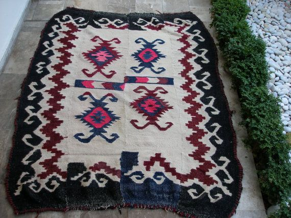 Antique Kilim Rug Tribal Large Nomadic Area by VintageHomeStories