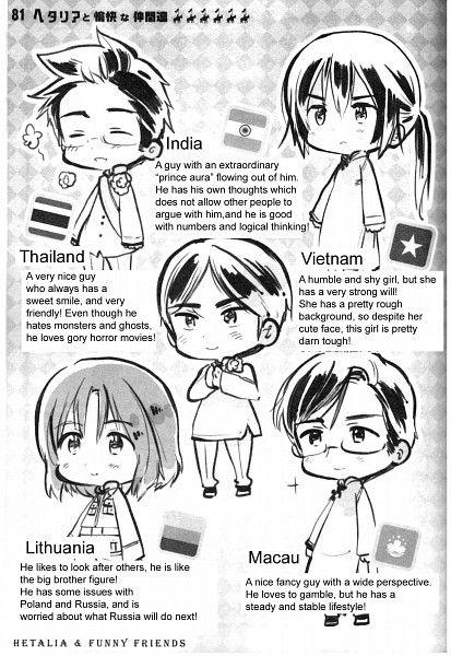 Vietnam, Thailand, India, Macau, Lithuania, Hetalia