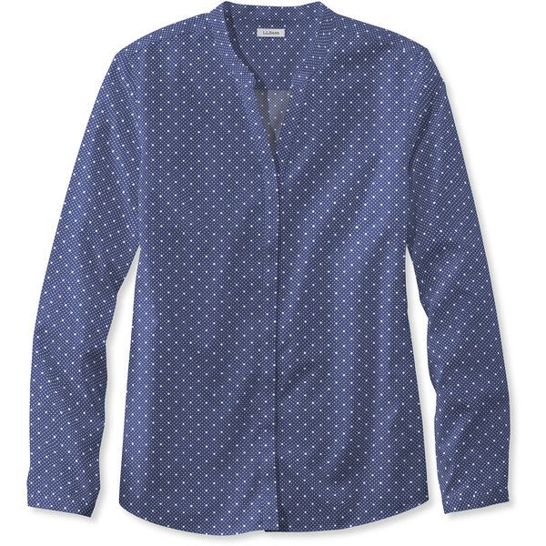 L.L.Bean Wrinkle-Free Pinpoint Oxford Shirt, Long-Sleeve Splitneck Dot ($55) ❤ liked on Polyvore featuring fitted tops, blue long sleeve top, polka dot top, blue oxford shirt and blue top