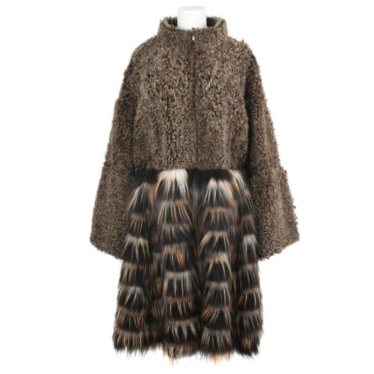 Сочетание 2 типов меха  New FENDI Brown Shearling And Fox Fur Coat by Karl Lagerfeld | 1stdibs.com