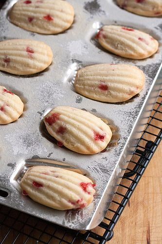 Strawberry-Lemon Madeleines: a buttery French treat gets a summery makeover with tangy lemon zest and chunks of fresh strawberries.