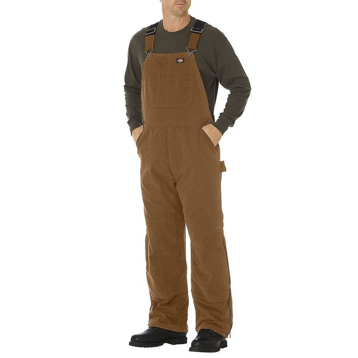 Men's Dickies Sanded Duck Insulated Bib Overall, Size: Small, Dark Beige