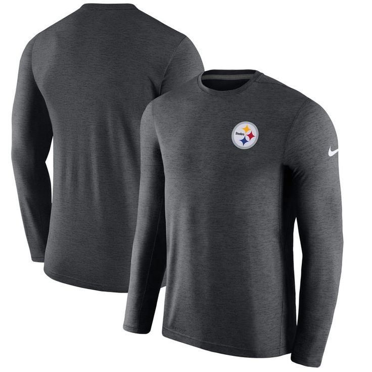Pittsburgh Steelers Nike Coaches Long Sleeve Performance T-Shirt - Charcoal