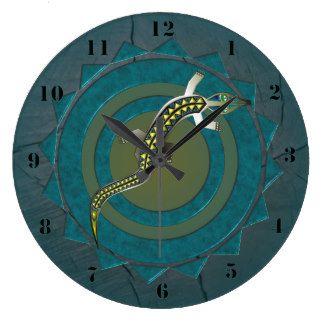GREEN CROCODILE 39 CIRCULAR/WOOD LARGE CLOCK