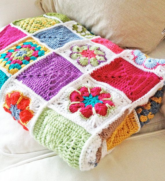 Granny square style patchwork blanket.