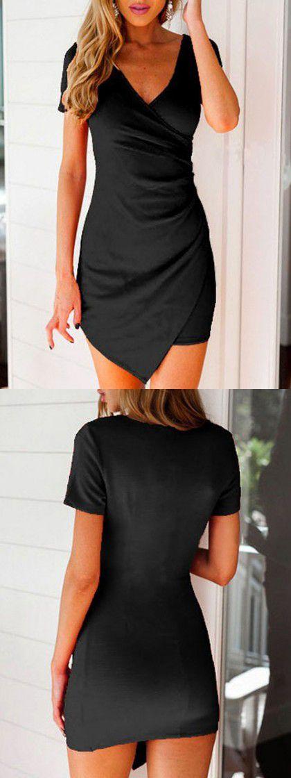 Full black dress with V Neck #style #fashion -CHOIES