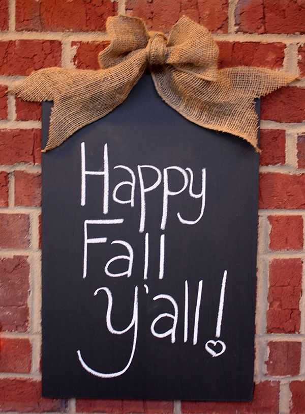 Happy Fall Y'all! Fall Front Porch Decor Autumn DIY Chalkboard  - #fall #fallporch #DIY