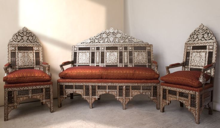 Set of Ottoman Furniture with Mother of Pearl Inlay | From a unique collection of antique and modern living room sets at https://www.1stdibs.com/furniture/seating/living-room-sets/