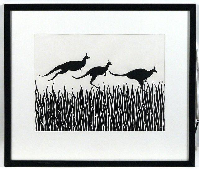 Drawing of three kangaroos hopping over grass, by Mini Heath.